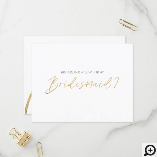Modern Typographic, Will You Be My Bridesmaid Gold Invitation Postcard