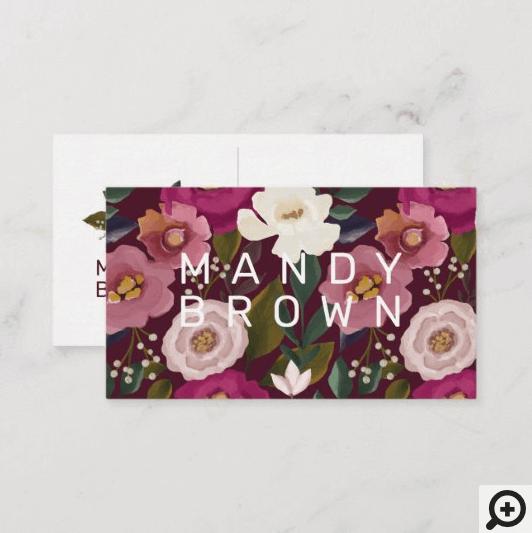 Moody & Elegant Watercolor Floral Arrangment Business Card
