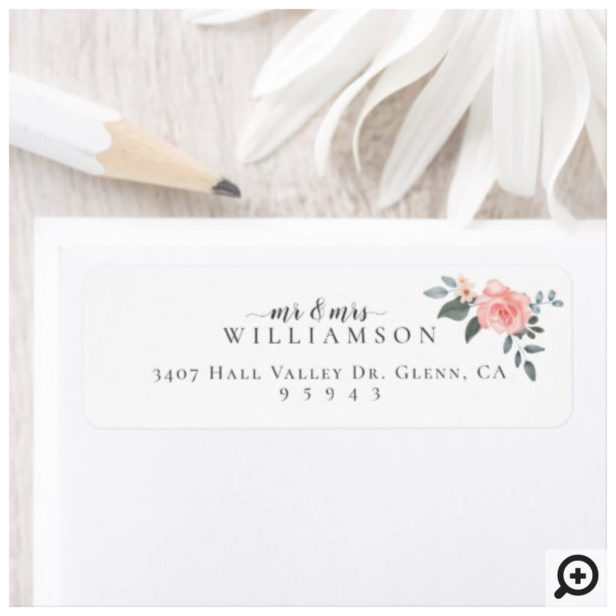 Mr & Mrs Watercolor Floral Rose & Sage Greenery Label