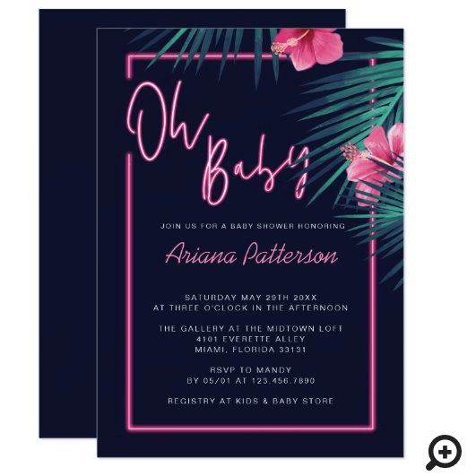 Oh Baby Electric Neon Pink Tropical Baby Shower Invitation
