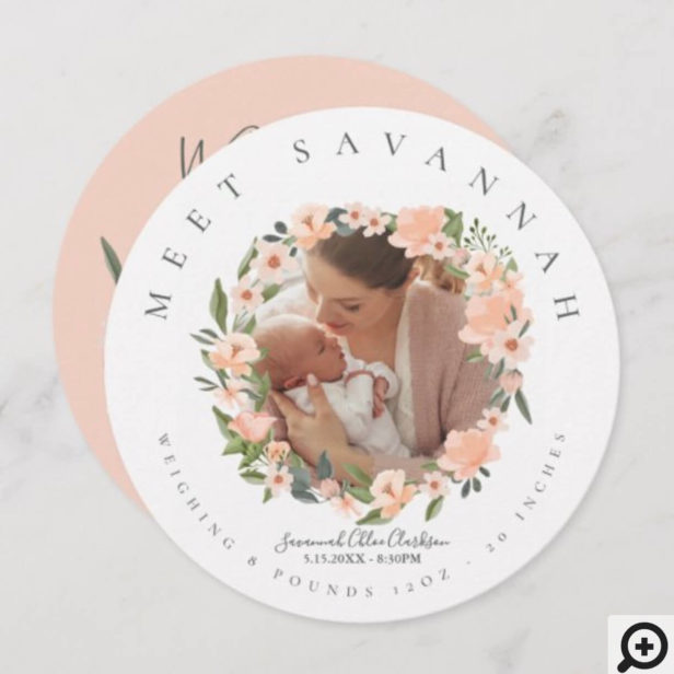 Peach Watercolor Floral Flower Wreath Photo Baby Announcement