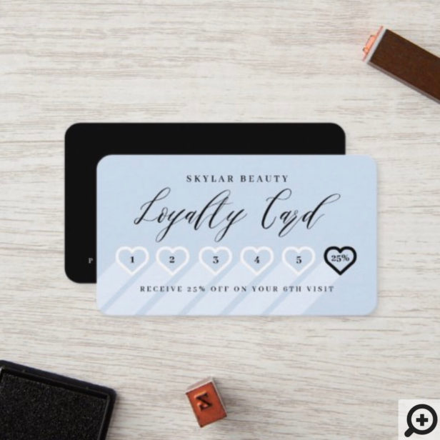 Periwinkle Blue & Black Stylish Minimal Heart Love Loyalty Card