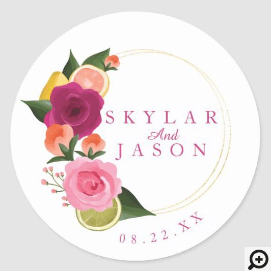 Pink Punch Watercolour Fruity Citus & Floral Classic Round Sticker