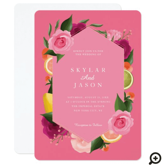 Pink Punch Watercolour Fruity Citus & Floral Pink Invitation