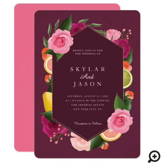 Pink Punch Watercolour Fruity Citus & Floral Plum Invitation