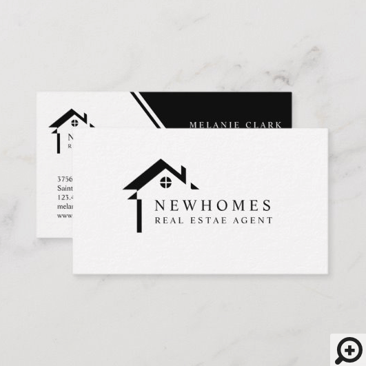 Professional Home Real Estate Agent Logo Black Business Card