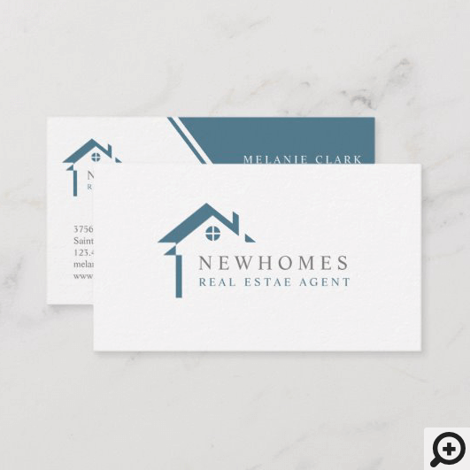 Professional Home Real Estate Agent Logo Blue Business Card