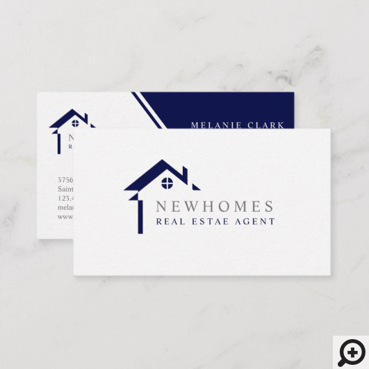 Professional Home Real Estate Agent Logo Navy Blue Business Card