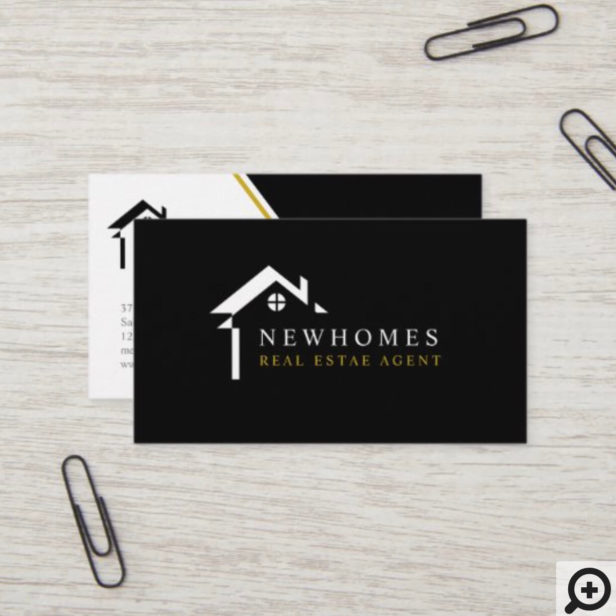 Professional Home Real Estate Agent Logo White Business Card