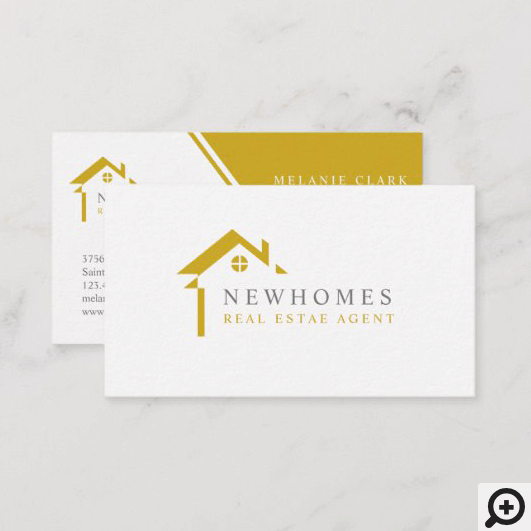 Professional Home Real Estate Agent Logo Yellow Business Card