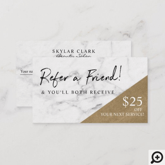 Refer A Friend Elegant Marble & Gold Referral Business Card
