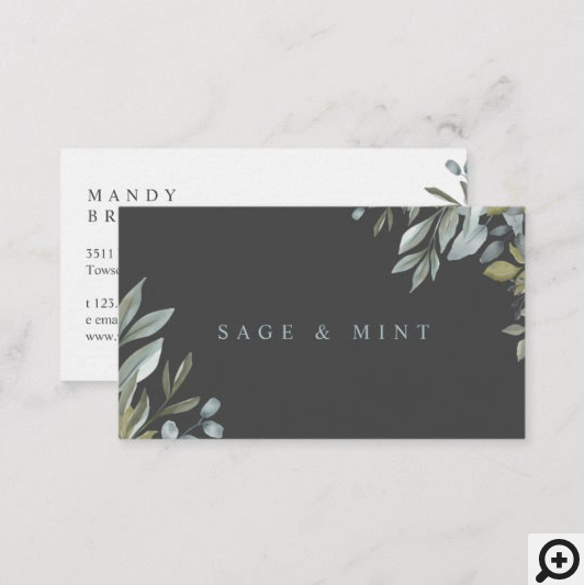 Sage And Leaf Watercolor Greenery Business Card