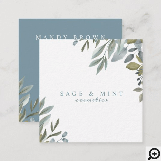 Sage And Leaf Watercolor Greenery Square Business Card