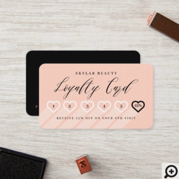 Salmon Pink & Black Stylish Minimal Heart Love Loyalty Card