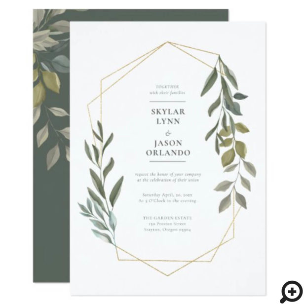 Minimal Leaf Greenery & Gold Geometric Terrarium Invitation