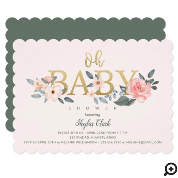 Oh Baby Shower Watercolor Floral Blush Rose Garden Invitation