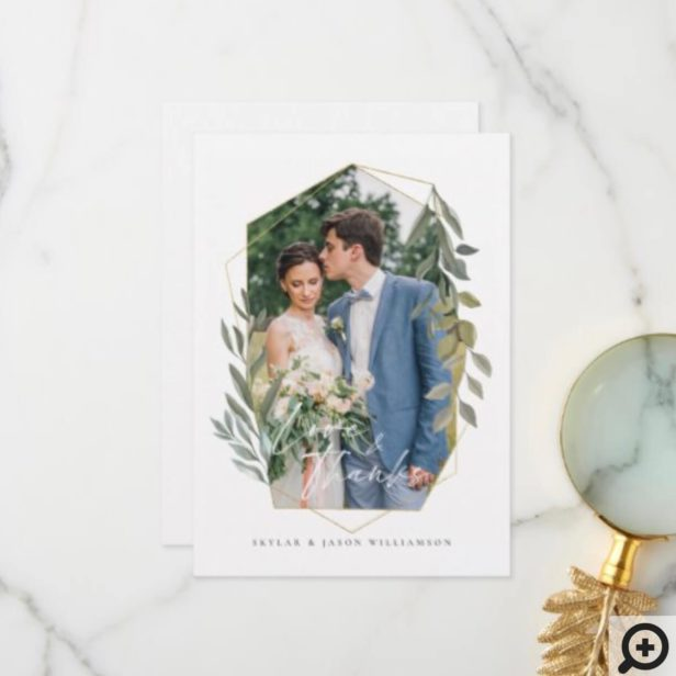 Love & Thanks Foliage & Gold Terrarium Photo Frame Thank You Card