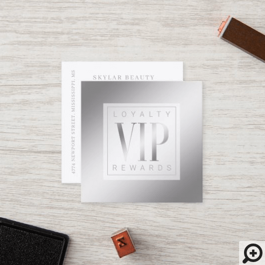Sheer Elegant Luxurious Silver Shine VIP Loyalty Card