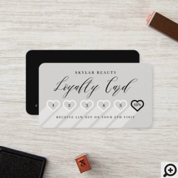 Stone Grey & Black Stylish Minimal Heart Love Loyalty Card