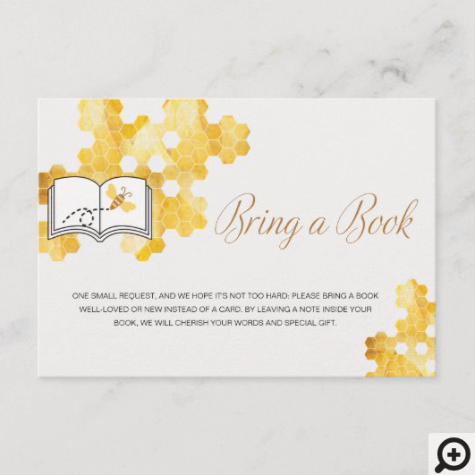 Sweet Little Honey On The Way Bring A Book Enclosure Card