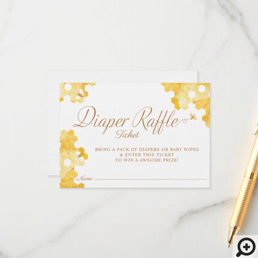 Sweet Little Honey On The Way Diaper Raffle Ticket Enclosure Card