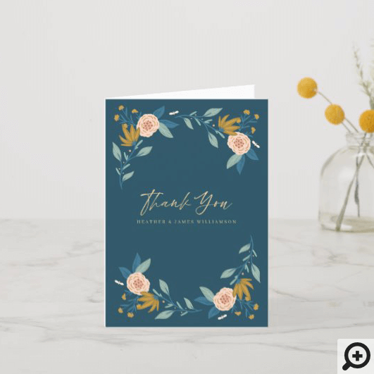 Thank You Floral Garden & Leaves Heart Photo Frame