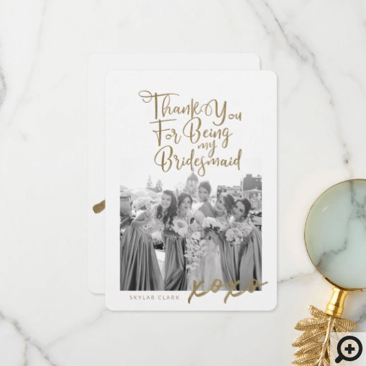 Thanks For Being My Bridesmaid Trendy Photo Thank You Card