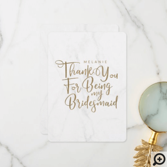 Thanks For Being My Bridesmaid Typography Marble Thank You Card