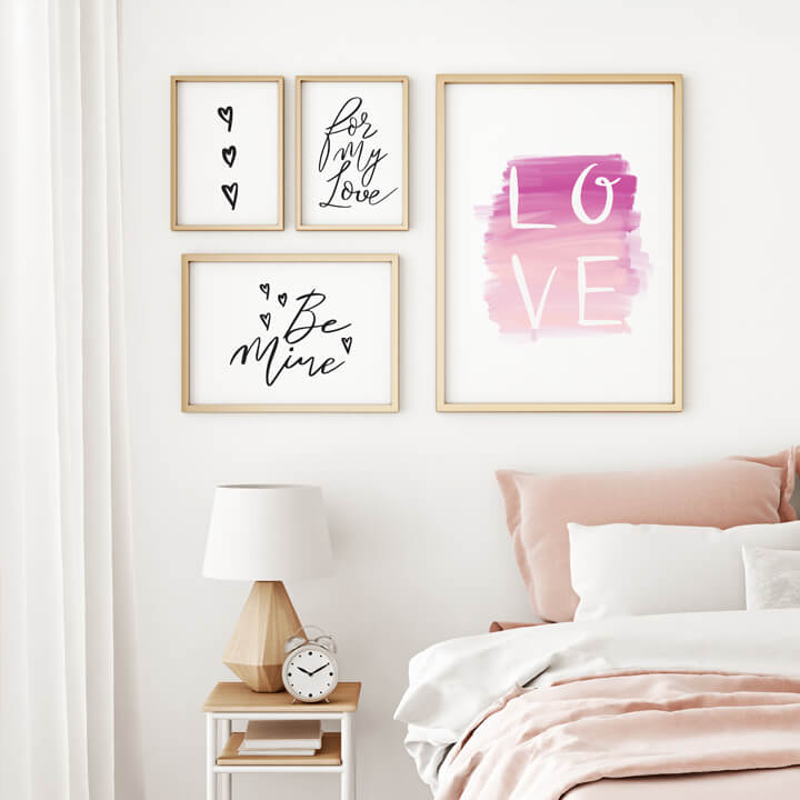 Cute Trendy Valentines Modern Calligraphy Wall Art Prints By Moodthology Papery