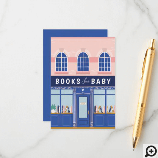 Vintage Book Store Books For Baby Baby Shower Enclosure Card