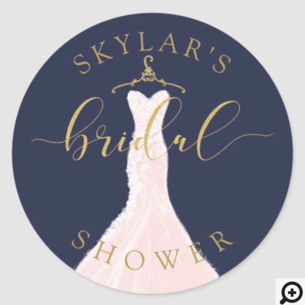 Vintage Wedding Dress Navy & Gold Bridal Shower Classic Round Sticker