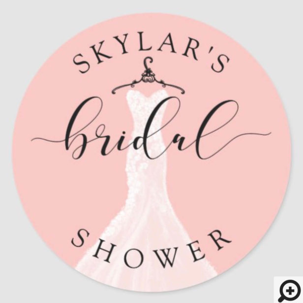 Vintage Wedding Dress Pink Bridal Shower Classic Round Sticker