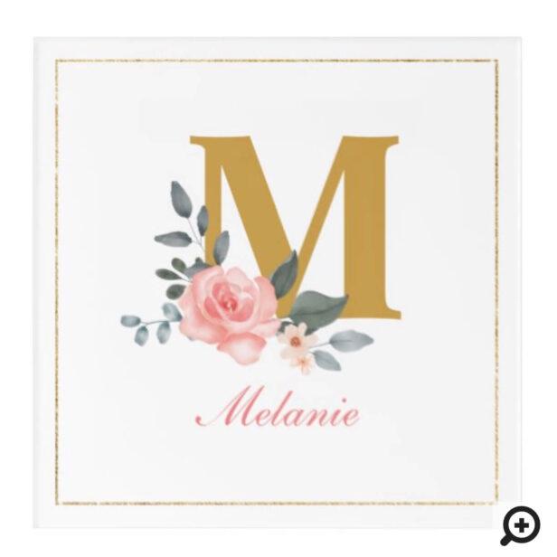 Watercolor Floral Rose Custom Name & Monogram Acrylic Print