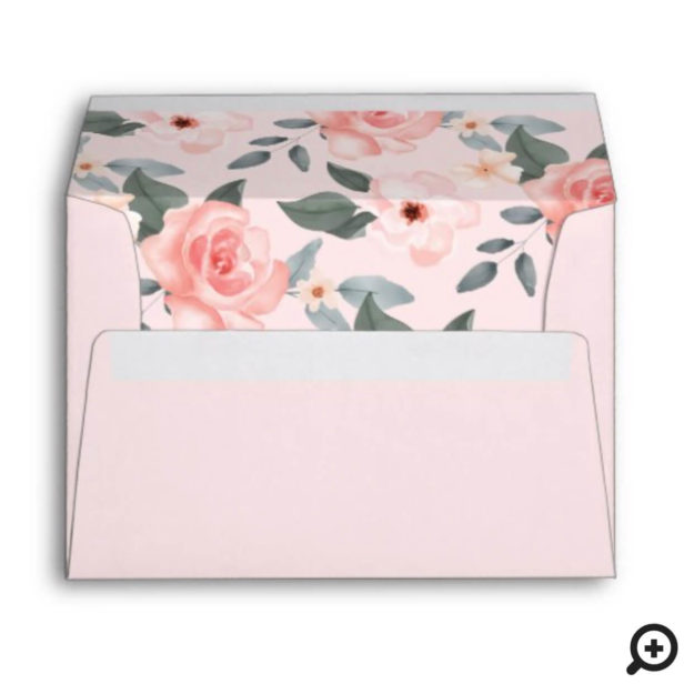 Watercolor Floral Rose Garden Monogram Wreath Pink Envelope