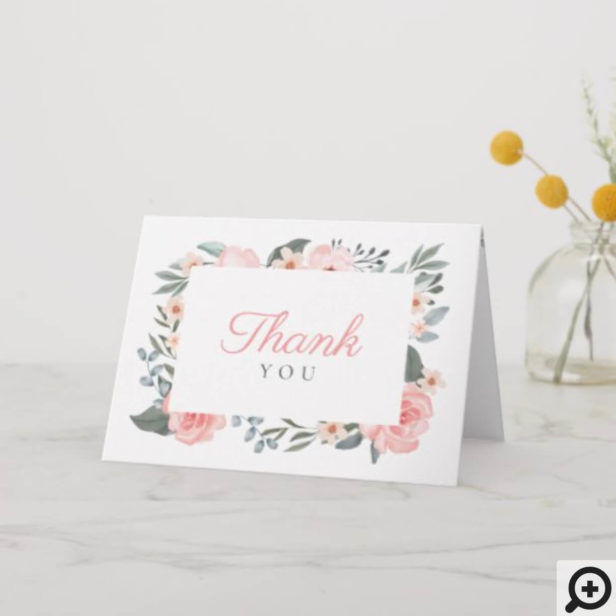 Watercolor Floral Rose Garden Thank You Card