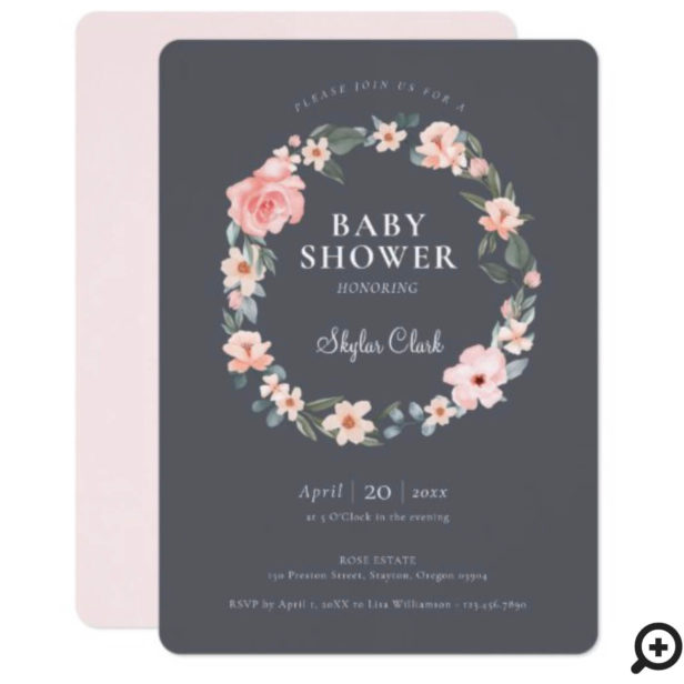 Watercolor Floral Rose & Sage Greenery Baby Shower Invitation