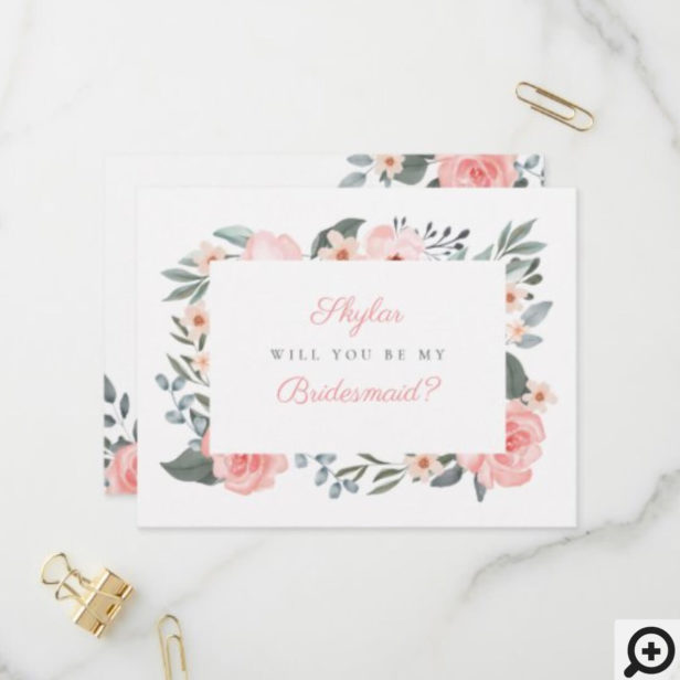 Watercolor Floral Rose Will You Be My Bridesmaid Invitation Postcard