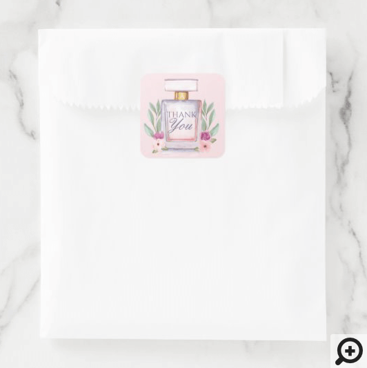 Watercolor Perfume Bottle Floral Thank You Square Sticker