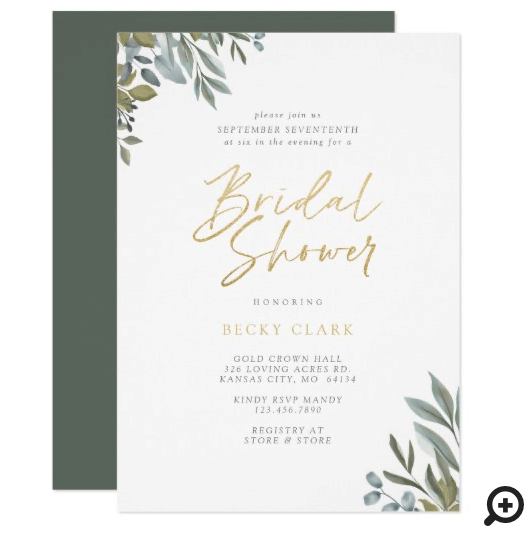 Watercolor Sage Greenery & Leaves Bridal Shower Invitation