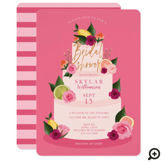 Watercolour Citus Floral 3 Tier Cake Pink Bridal Shower Invitation
