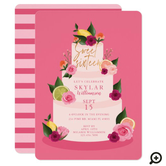 Watercolour Citus Floral 3 Tier Cake Sweet Sixteen Invitation Pink