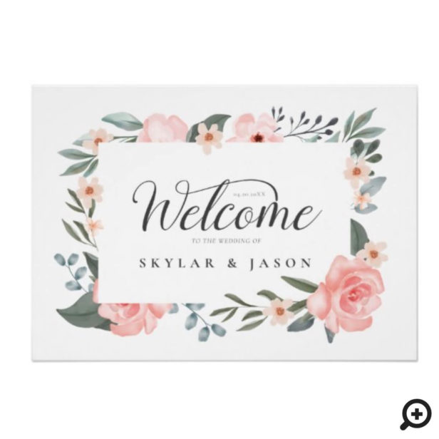 Welcome Watercolor Floral Rose & Foliage Frame White Poster