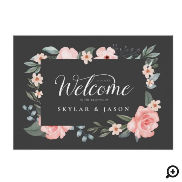Welcome Watercolor Rose & Foliage Frame Grey Poster