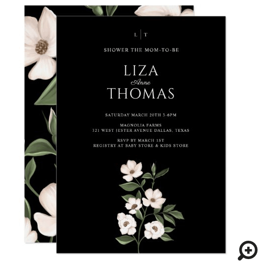 White Ivory Magnolia Watercolor Flowers & Leaves Invitation
