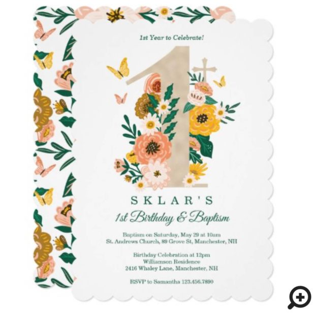 1st Birthday & Baptism Spring Florals Butterflies Invitation