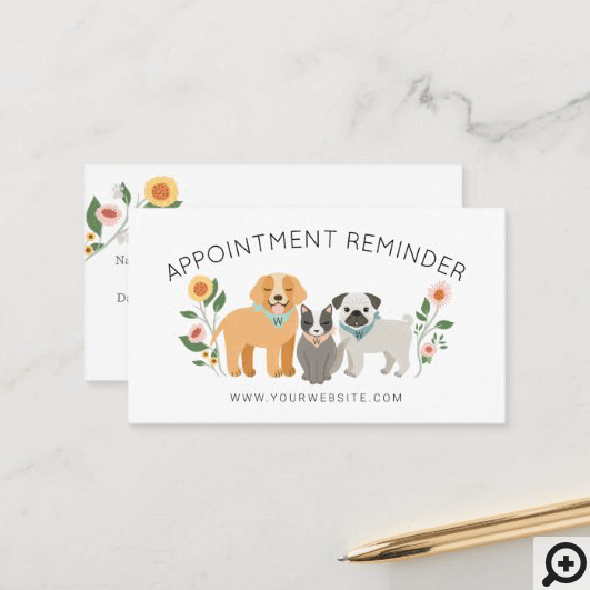 Adorable Floral Dog & Cat Pet Care Services White Appointment Card