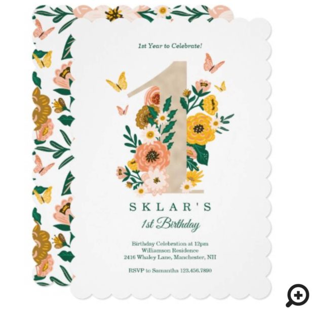 Baby's 1st Birthday Spring Florals Butterflies Invitation