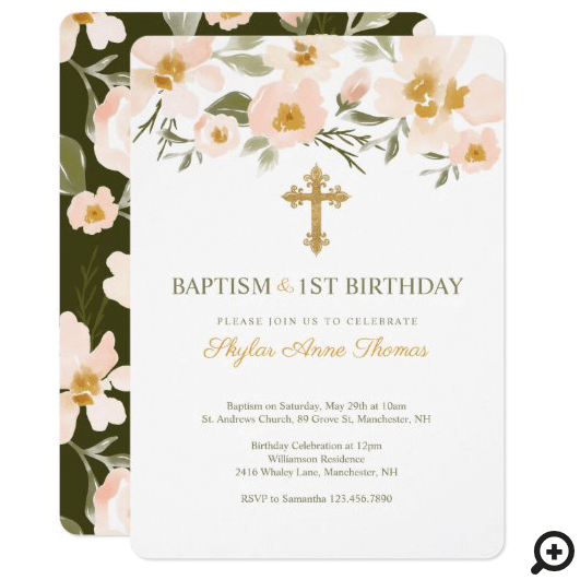 Baptism & 1St Birthday Elegant Watercolor Florals Invitation
