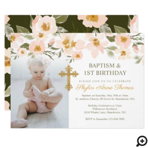 Baptism & 1st Birthday Watercolor Florals Photo Invitation