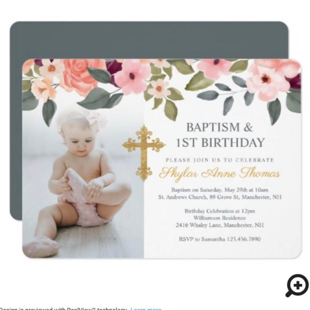 Baptism & 1st Birthday Watercolor Flowers Photo Invitation
